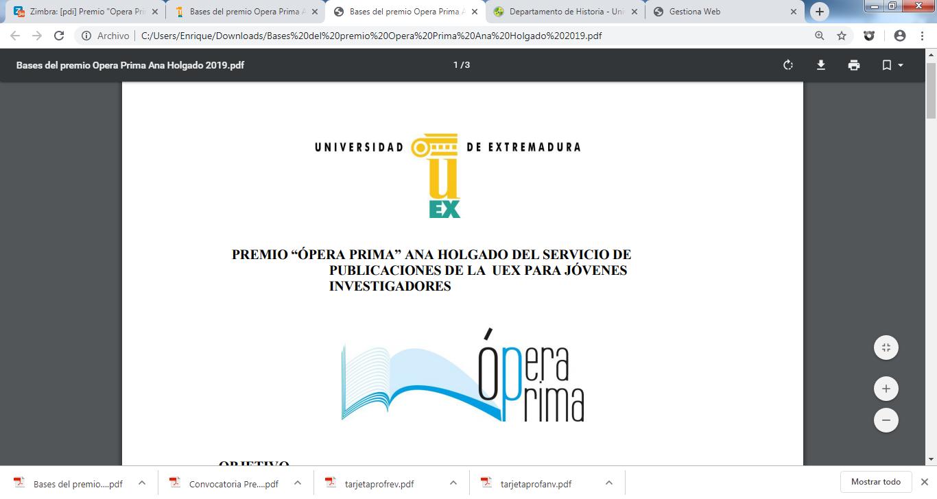 Calendario Uex.Iv Convocatoria De Premio Opera Prima Para Trabajos De Fin De